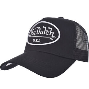 Von Dutch Mens Patch Signature Logo Adjustable Snapback Trucker Cap Black