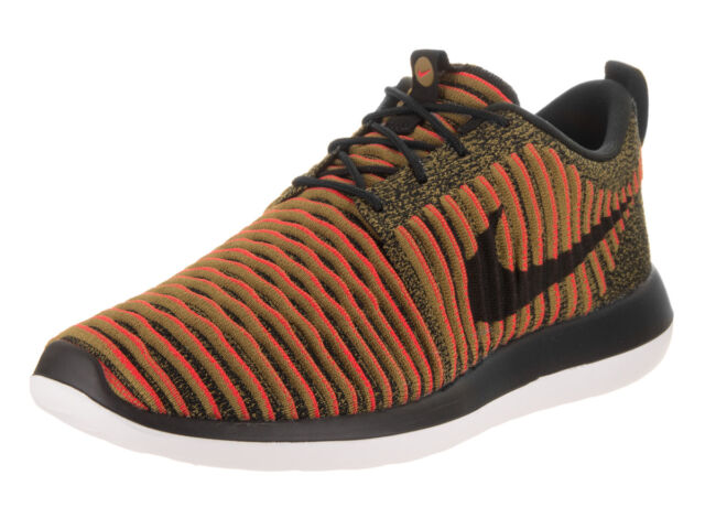 d1ca81ef82207 Nike Roshe Two 2 Flyknit Mens Running Shoes 10 Black Max Orange ...