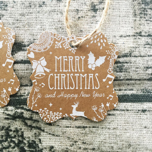 Pack of 50pcs Merry Christmas Kraft Gift Tag DIY Craft Paper Cards Labels