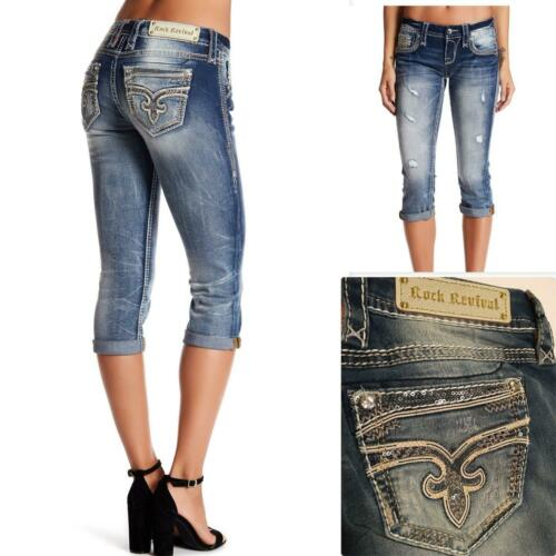 ROCK REVIVAL WOMENS JAYLYN CAPRI JEANS DISTRUCTED EMBELLISHED SEQUIN SIZE 31 NEW