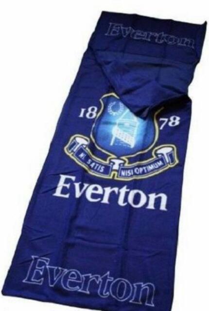 EVERTON FOOTBALL SOFT FLEECE SLEEPING BAG KIDS BOYS CHILDRENS CAMPING