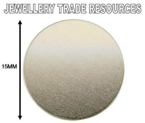 15mm x 1.0mm THICK ROUND STERLING SILVER FLAT DISC FOR JEWELLERY MAKING