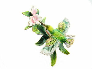 Hummingbird and Orchid Bejeweled Trinket Box