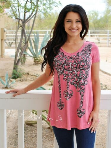 VOCAL CRYSTAL CORAL PINK HEART CHAINS V NECK TUNIC SHIRT USA BLING S M L XL