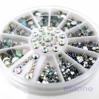5 Sizes Shiny White Acrylic Nail Art Tips Decoration Glitter Rhinestones Wheel