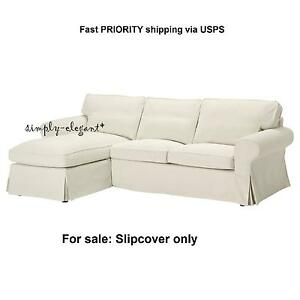 Ikea Cover For Ektorp Loveseat With Chaise Slipcover Svanby Beige Linen Blend Ebay