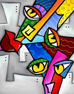 Details About Original Abstract Painting Modern Art Face Print Decor Happy Color By Fidostudio