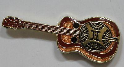 Brown Electric Guitar Band Music Lapel Hat Pin Melody Tie Tack Harley Biker