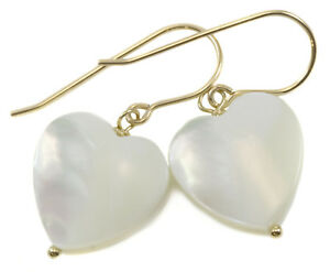 Image Is Loading Mother Of Pearl Earrings White Heart Shaped Simple