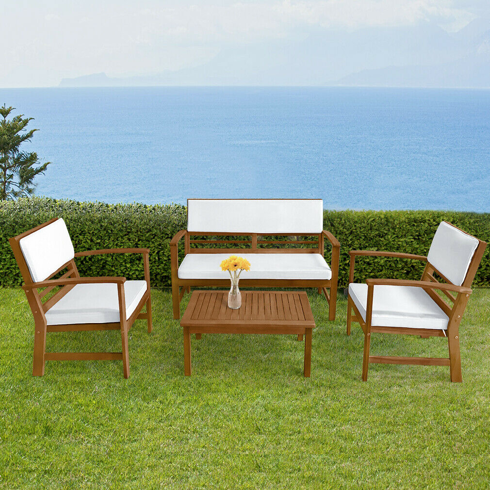 Outdoor Patio Deck Lounge 4 Piece Westerly Acacia Wood Deep Seating Chat Set For Sale Online Ebay