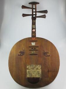 Rare 19th Century Oriental Chinese Moon Guitar Lute Gekkin Japan Circa 1885