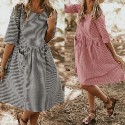 Women Casual O Neck Half Sleeve Dress Striped Sundress Femme Oversized Dresses T