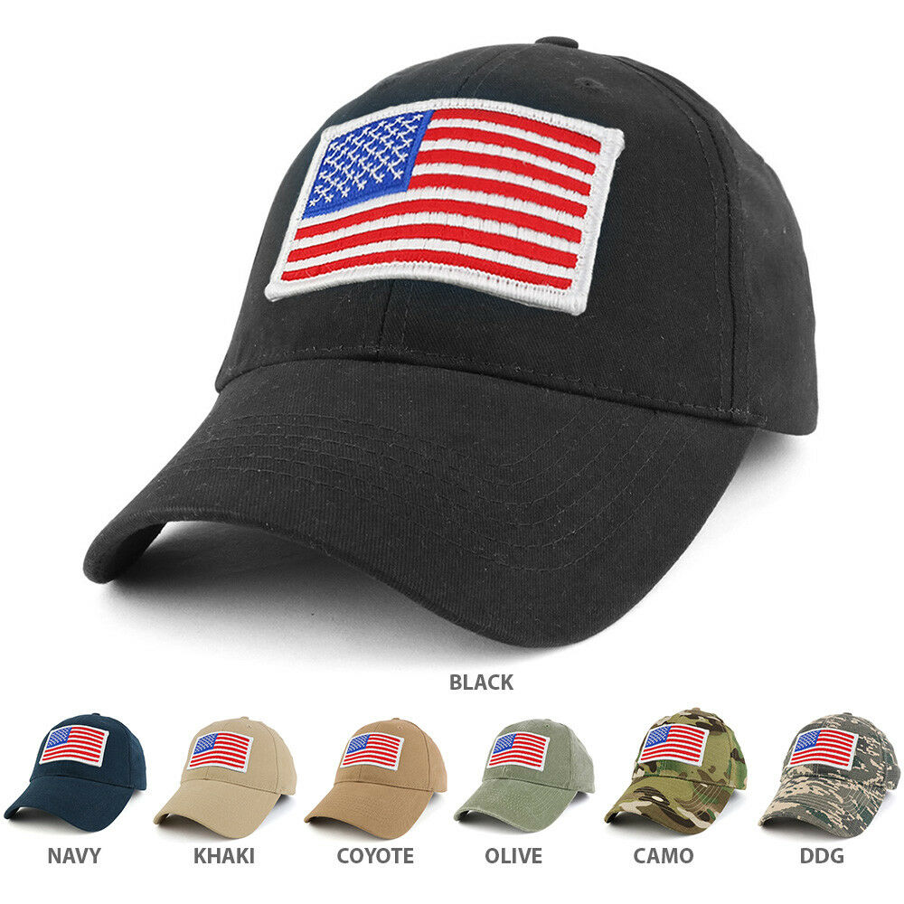 USA WHITE American Flag Embroidered Tactical Patch with Operator Adjustable Operator with Cap 29a697