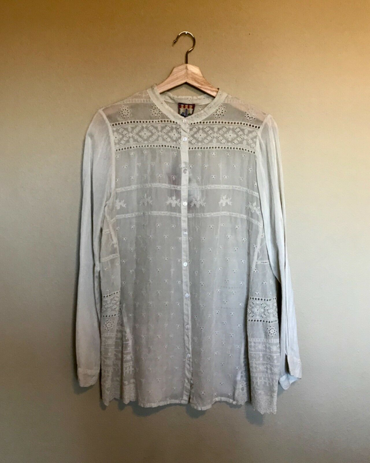 Johnny Was Button-Down Blouse Shell Größe M