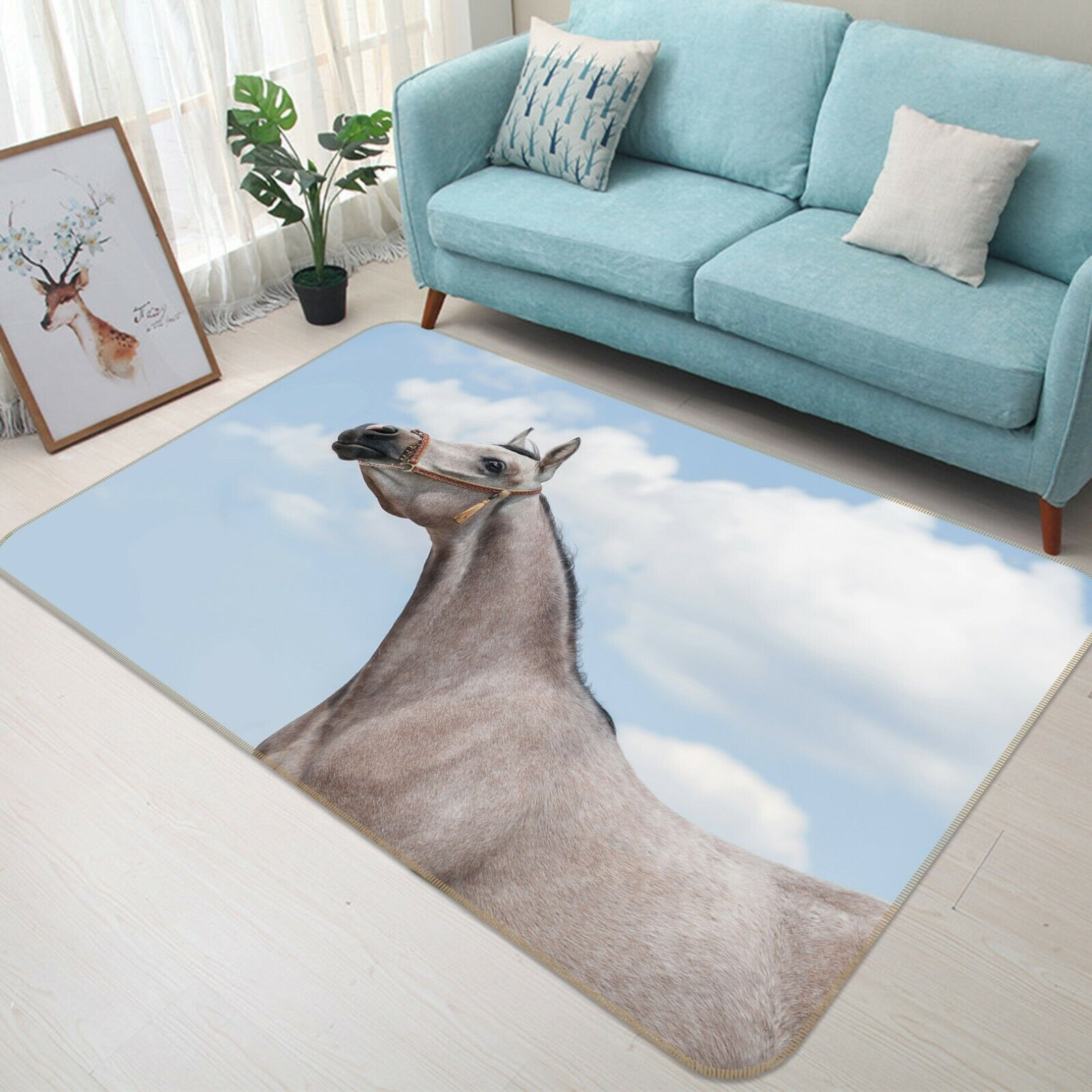 3d blancoo caballo a068 animal juego antideslizante maletero elegante foto alfombra Wendy