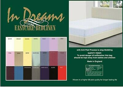 """ELECTRIC BED SINGLE FITTED SHEETS 3/' X 6/'6 OVER 20 COLOURS 260TC 36/"""" X 78/"""""""