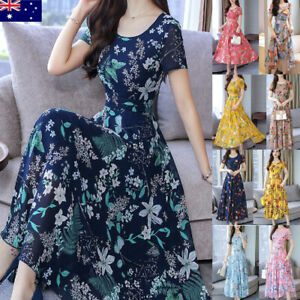 Women-Evening-Ladies-Party-Dress-Summer-Casual-Office-A-line-Floral-Business