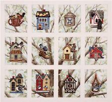 Casas del pájaro Tela De Algodón Panel Grande Artesanía acolchado Elizabeth's Studio