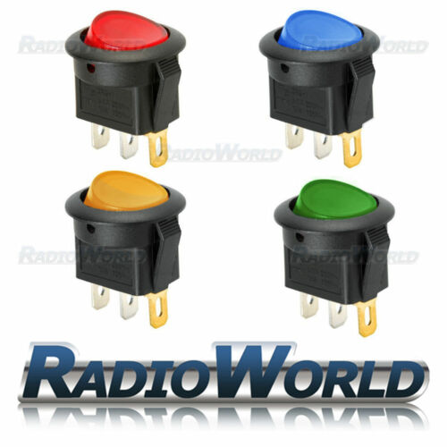 4x LED iluminado interruptor redondo On//off 12v 16a coche van Luz De Tablero