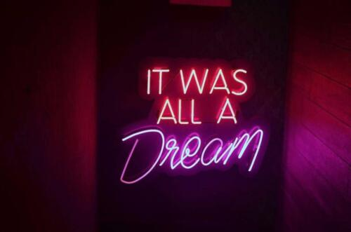 """/"""" It Was All A Dream/""""Neon Sign Beer Acrylic Glass Man Cave Wall Decor Light"""