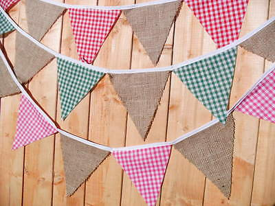 Handmade fabric bunting Hessian & Gingham 1m - 3.2 ft Weddings - parties No Gaps
