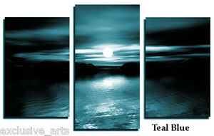 PREMIUM-GRADE-TEAL-AND-BLACK-LARGE-3-SET-WALL-ART-CANVAS-PICTURE-PRINT-BW3