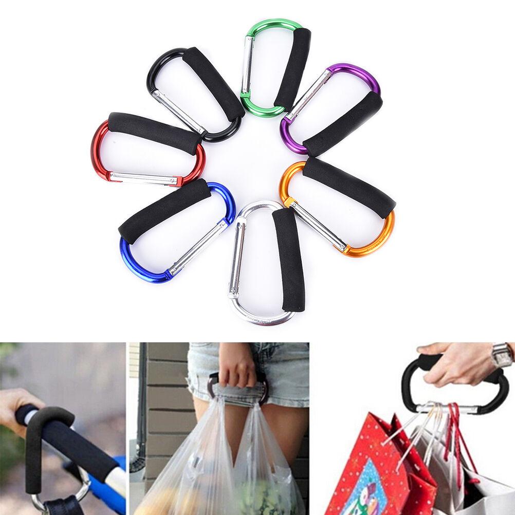 "2 Red Carabiner Hooks Buggy Clips 6/"" Jumbo Stroller Shopping Bags Carry Spring"