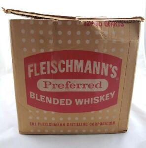 Vintage 1964 Fleischmann's Preferred Blended Whiskey Fifths Case Box Ohio Liquor