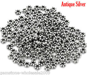 NEW-Wholesale-Lots-W09-Silver-Tone-Daisy-Spacer-Beads-3mm-Dia-DIY-Jewelry