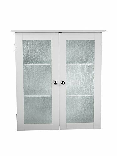 ELG-581 Elegant Home Fashions Connor White Wall Cabinet with 2 Glass Doors