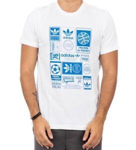 Blue Men/'s New Adidas Originals Trefoil Logo T-Shirt Top