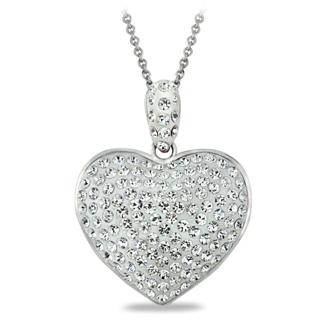 Crystal heart necklace made with swarovski elements ebay clear heart pendant necklace made with swarovski crystals mozeypictures Images