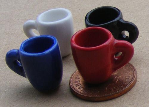 1:12 SCALA 4 Mix Colore Affusolato tazze caffè casa delle bambole set accessori in ceramica F
