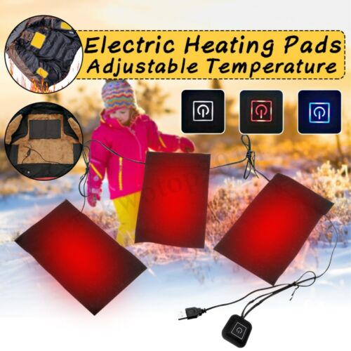 USB Electric Heating Pads Thermal Vest Heated Jacket Motorcycle Warm Winter Gear