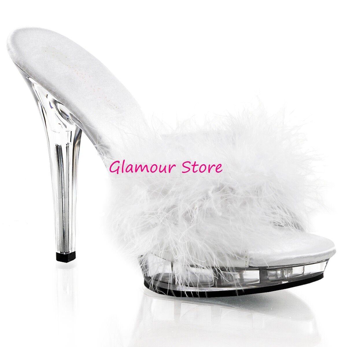 Sexy Sandals Marilyn Feathers  Heel 13 Platform 4 Colorees da 35 a 42 Sabot Glamour  negozio d'offerta