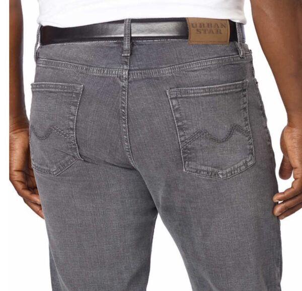 2019 Moda Urban Star Uomo Jeans - Vestibilità Comoda - Dritto - 32x34- Grigio - Nuovo Pregevole Fattura
