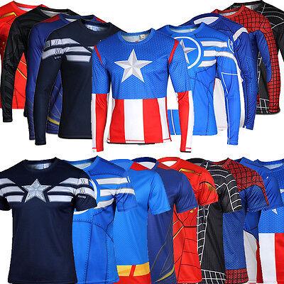 HOT Marvel Comics Superhero Cosplay Compression T-Shirt Costume Jersey Tops Tees