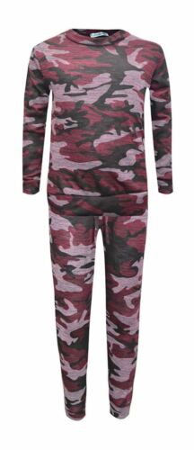 Girls Unisex Camouflage Print Tracksuit Kids Camo Lounge wear Jogger Age 7 to 13