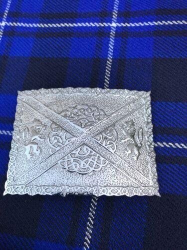 Brand New Classic Kilt Belt Buckle 2 Lions Celtic Knots Chrome Finish