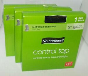 3-NO-NONSENSE-Control-Top-Pantyhose-SIZE-B-MIDNIGHT-BLACK-NIB