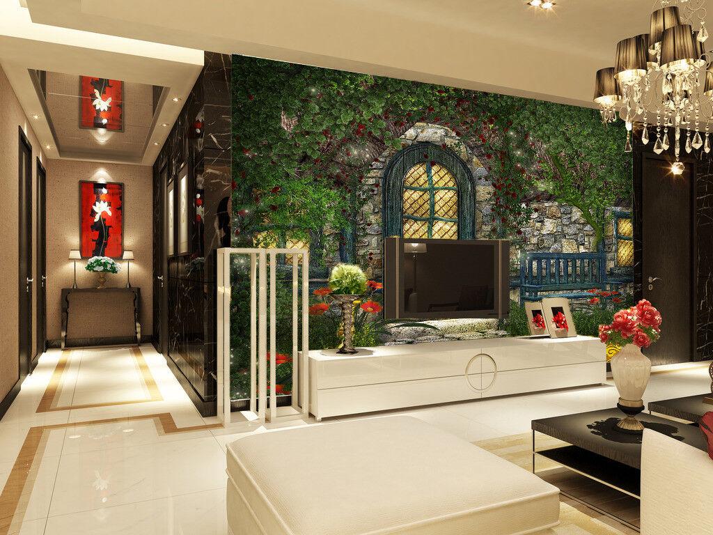 3D Garten Stein Haus 87 Tapete Wandgemälde Tapete Tapeten Bild Familie DE Summer