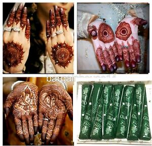 6 X Fresh Quality Natural Henna Mehndi Tattoo Pen Cone Darkest Brown