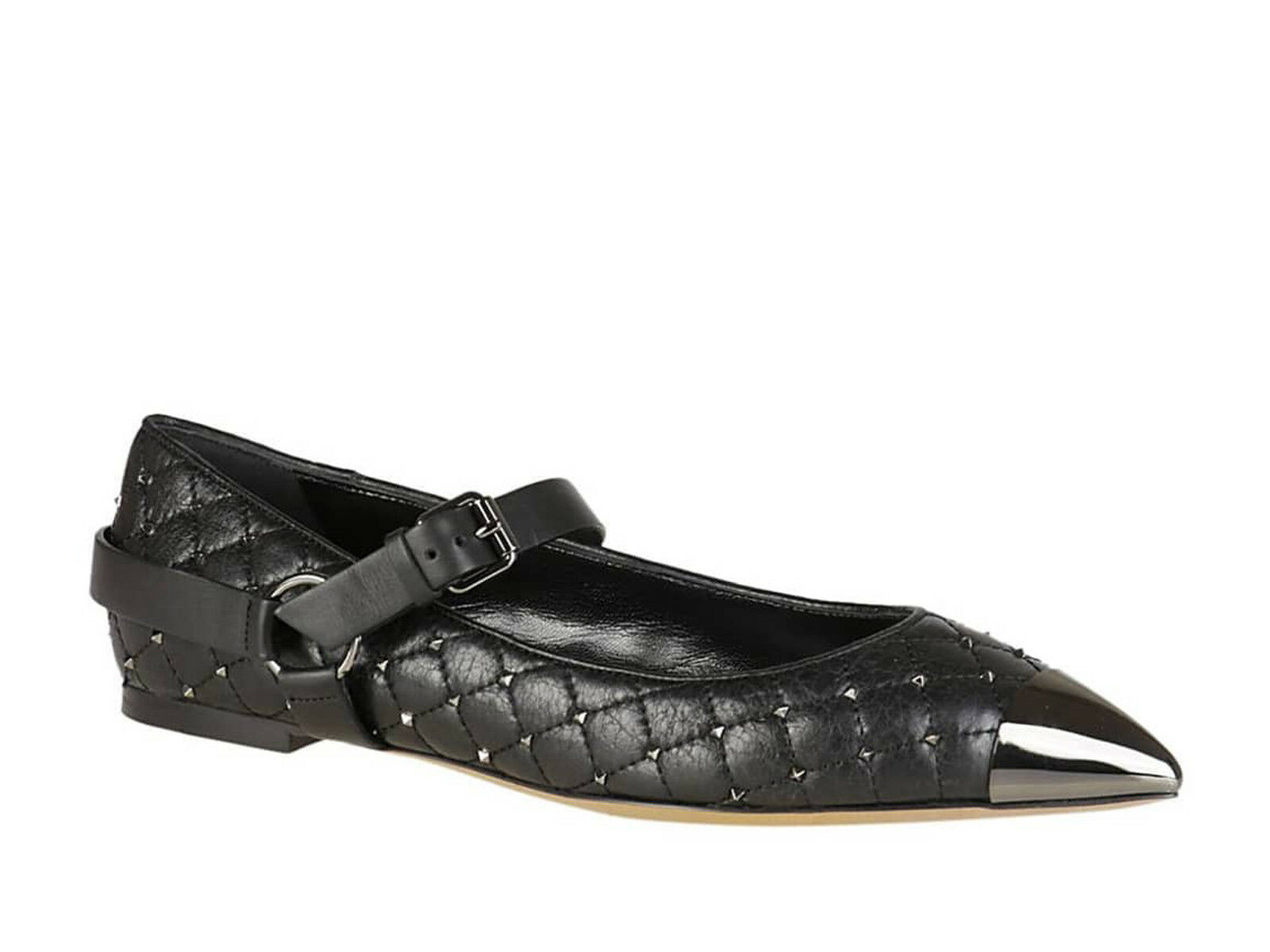 Valentino flat ballerinas shoes in lined black leather with studs made in