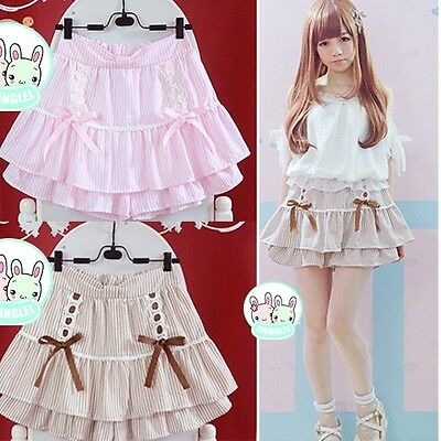 Kawaii bowknot falbala laisbian mini cake skirt Cute striped print JK uniform