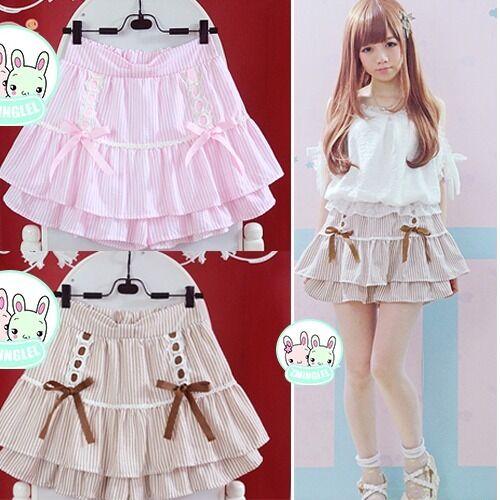 Kawaii bowknot falbala laisbian mini cake skirt Cute striped print JK uniform