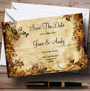 autumn colours vintage personalised wedding save the date cards ebay
