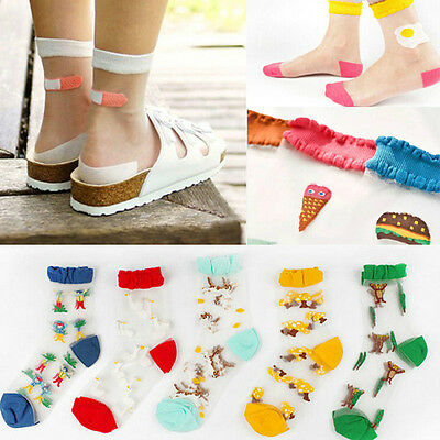 NEW Women Girls Street Snap Lovely Food Animal Ankle Socks Transparent Stockings