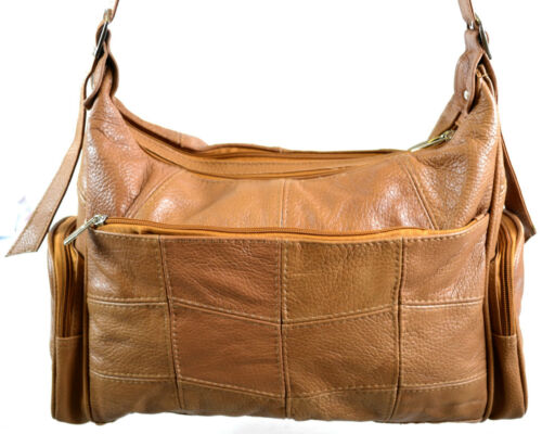 Ladies Leather Shoulder Bag Hand Bag 2 Main Compartments and Multiple Pockets