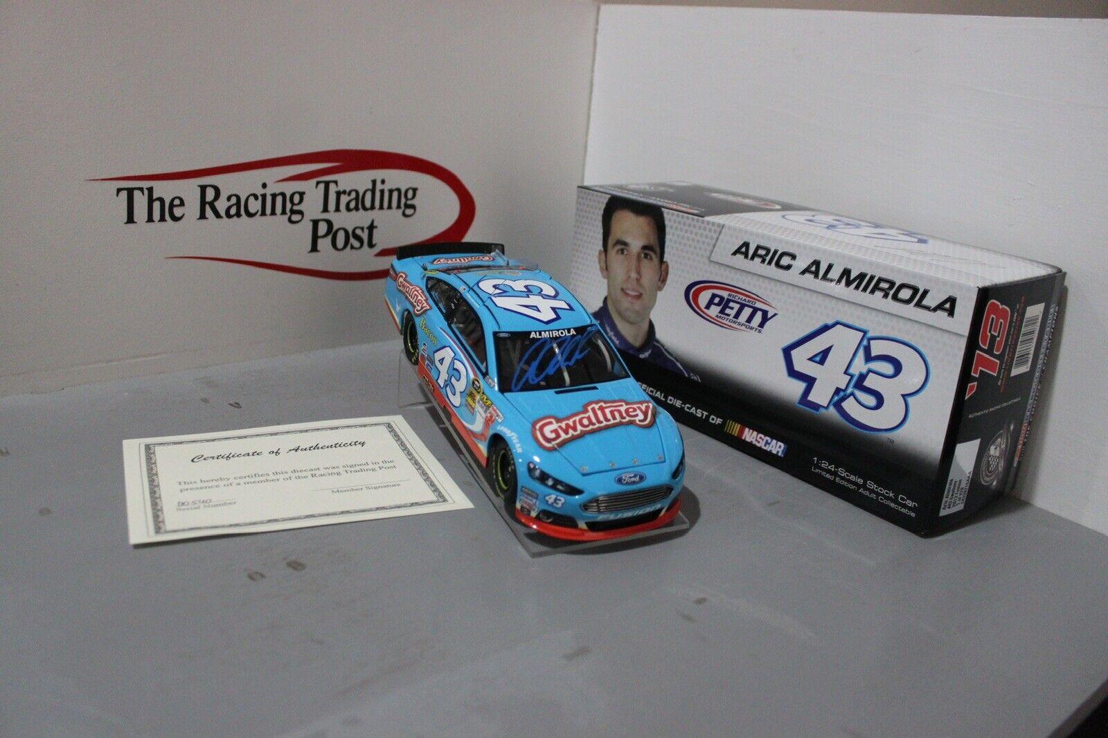 2013 Aric Almirola  Gwaltney Ford Fusion Autographed 1 24 Diecast auto - blu