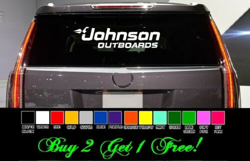 """boat fish Johnson Outboards 24/"""" Vinyl Sticker Decal car truck window Pick color"""